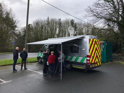Residents learning more about flooding at an event