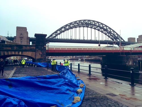 Flood barriers up next to the River Tyne