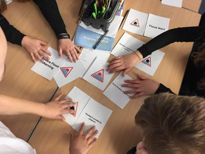 A group taking part in a flood warning tabletop activity