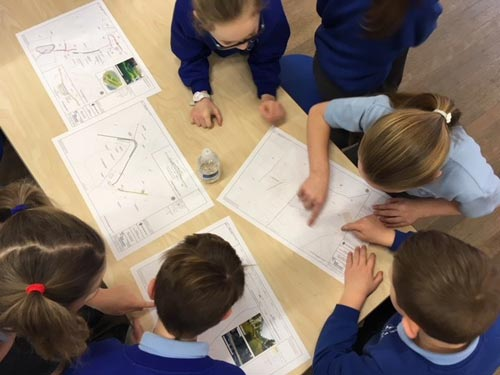 A group of school children working on flood plans
