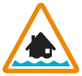 Flood alert image - A black house with one line of water in a amber triangle
