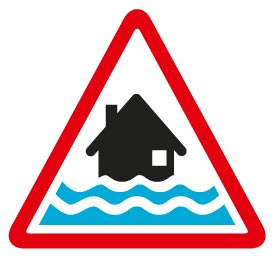 Flood warning image - A black house with two lines of water in a triangle