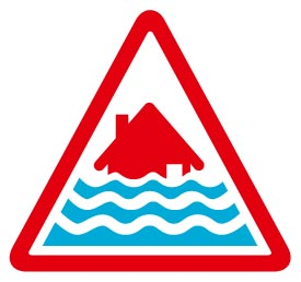 Severe Flood warning image - A red house with three lines of water in a triangle