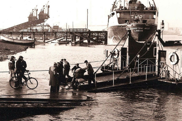Old photo of historical port in Cambois