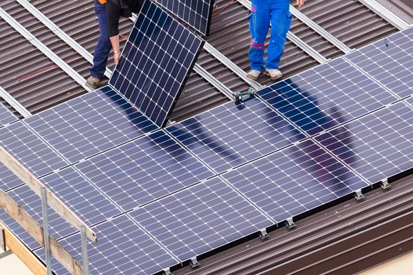 Photo showing how the roof-mounted solar panels might look on the leisure centre