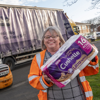 Image showing Truck load of toilet paper donated to council's shielding hub