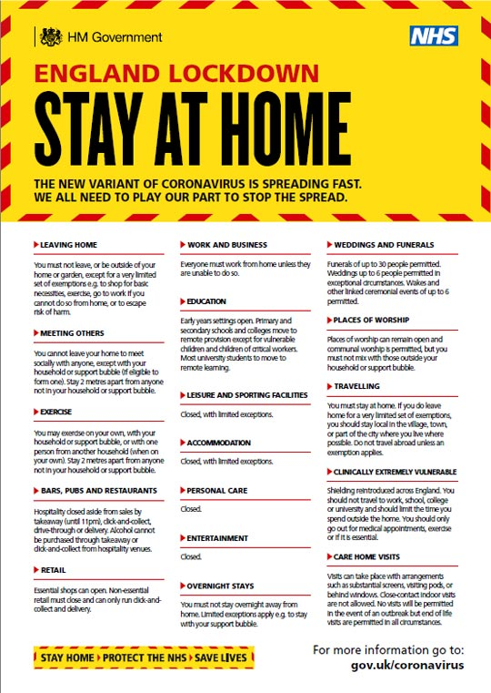 Poster showing what you can and can't do during stay at home regulations