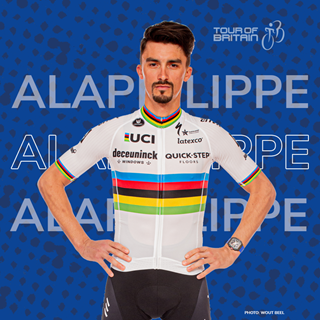 Image demonstrating World champion Julian Alaphilippe returning to the Tour of Britain