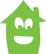 A green cartoon house with a smiling face