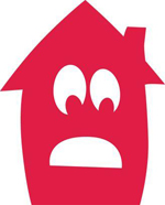 A red cartoon house with a upset face