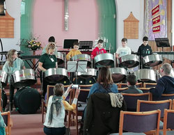 Students playing the steel drums