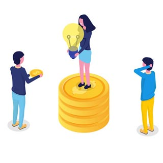 Three people discussing the use of money they have