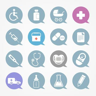 various icons relating to physical health and fitness