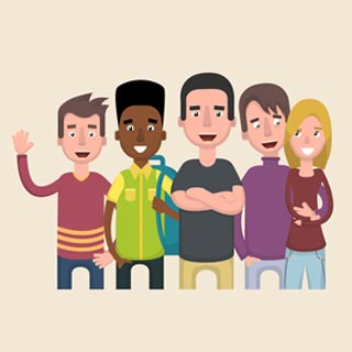 Cartoon illustration of teenagers