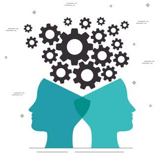Two heads next to each other with cogs above them working together