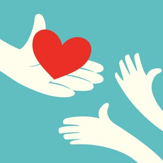 A person offering their heart/kindness to someone