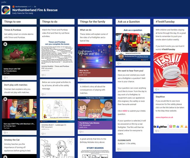 The Northumberland fire and rescue padlet for early year learners