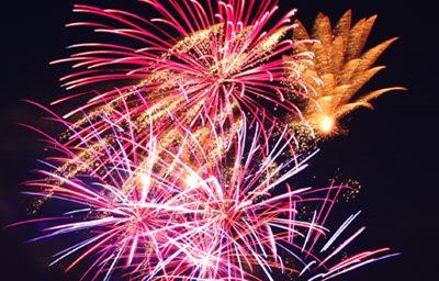 Image showing Bonfire & fireworks