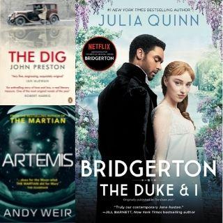 Book covers of Bridgerton, The Dig and Artemis