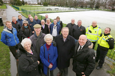 Group photo of Hirst Park Revival team and stakeholders with Jack Charlton