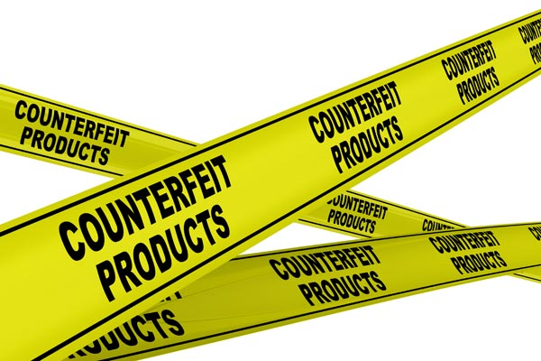 Tape saying counterfeit products