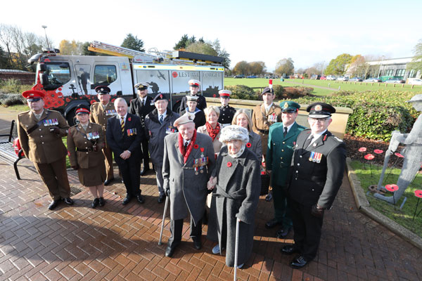 Members of the Armed Forces and emergency services at a Remembrance Service at County Hall, Morpeth