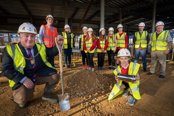 Image demonstrating Time capsule buried beneath new Morpeth Sports Centre