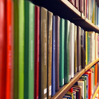 Row of books in library