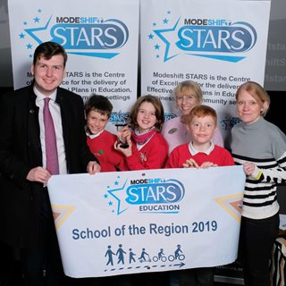 Allendale Primary students and staff receiving their award