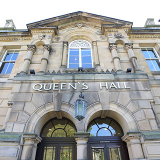 Outside of Queen's Hall in Hexham