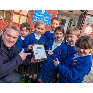 Cllr Daley presenting Stannington school with their Modeshift  STARS award