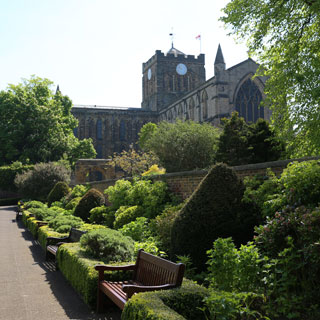 Hexham Abbey from Hexham House grounds