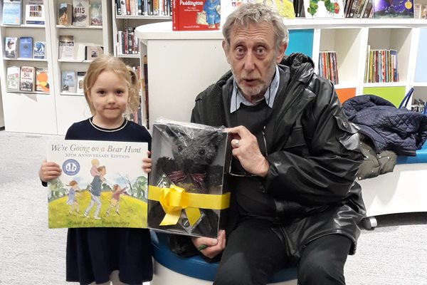 Image demonstrating Young Bear Hunt winner meets book's author at Hexham Library