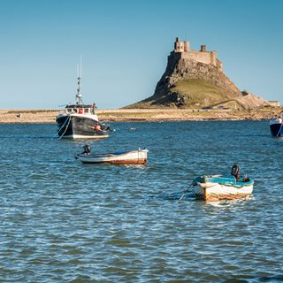 Lindisfarne castle with the tide in