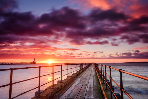 Picture of sunrise on Northumberland coast