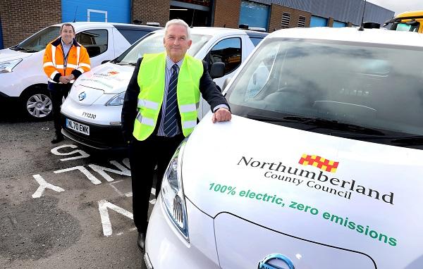 Electric council vans with '100% electric, zero emissions' written on bonnet