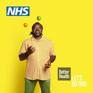Man juggling and Better Health logo