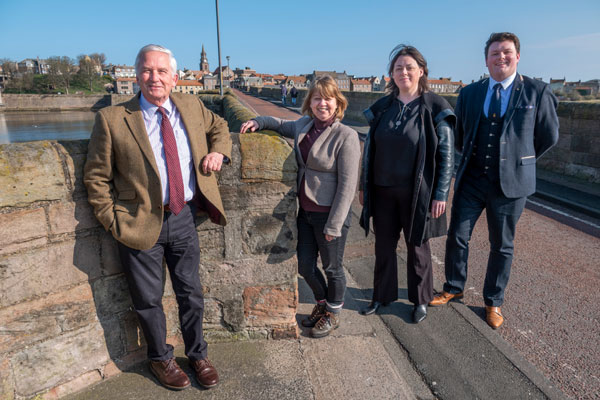 County councillors on Berwick Old Bridge