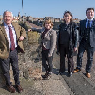 Photo of county councillors on Berwick Old Bridge (taken before Covid-19 restrictions)