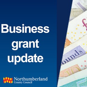 Business grant update words, and photo of bank notes