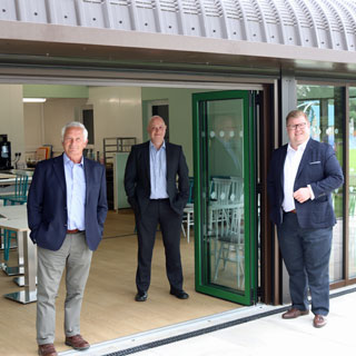 Councillors and staff outside the refurbished visitor centre