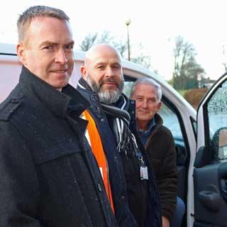 Paul Jones, Director of Local Services, Cllr Glen Sanderson and Jamie Grainger from fleet services.