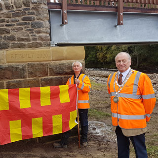 Cllr Ian Hutchinson and Roger Morris at the new bridge