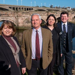 County councillors on Berwick Old Bridge