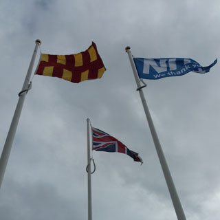 Flags flying at the Scottish border