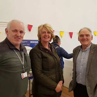Cllrs Trevor Cessford and Cath Homer with Peter Rodger from Hexham Community Partnership