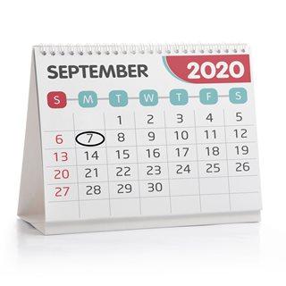 Calendar showing Mon 7 September 2020