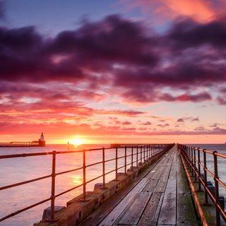 Picture of sunrise on Northumberland coast