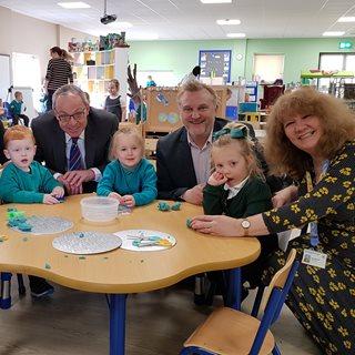 Cllr Wayne Daley and Dean Jackson with teachers in Bedlington