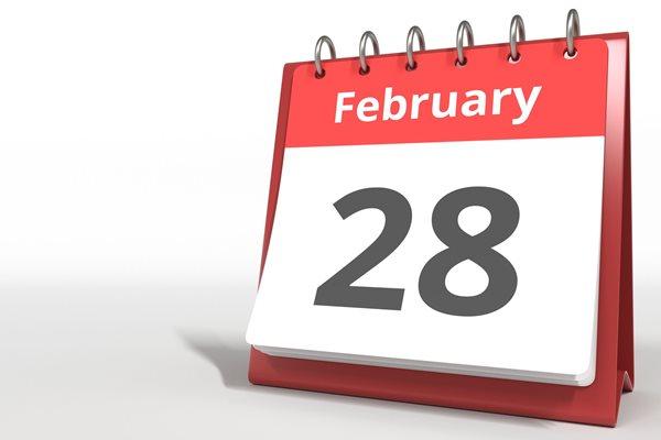 Photo of calendar showing 28 February